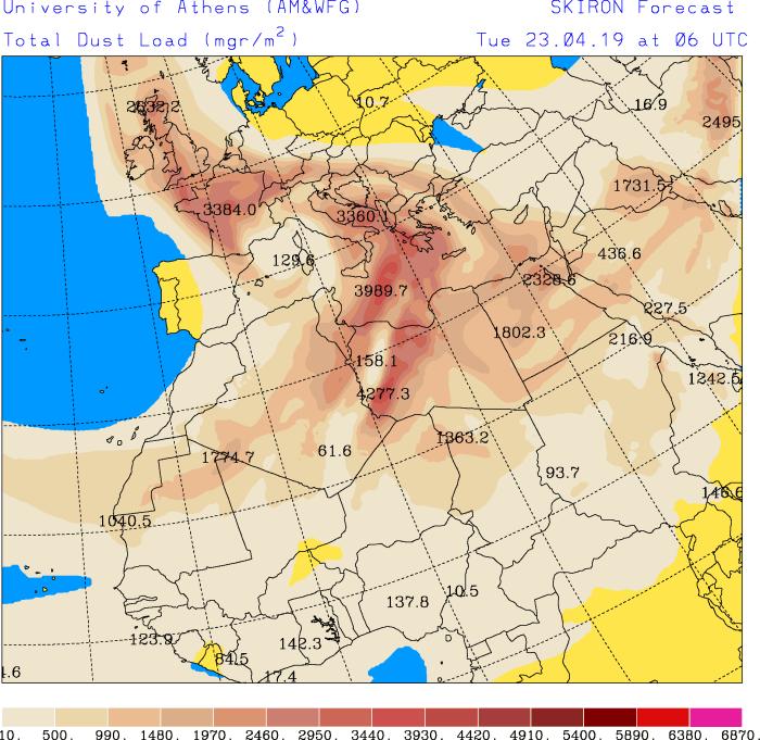 Pesak iz Sahare nalaziće se u atmosferi većeg dela Evrope (SKIRON)