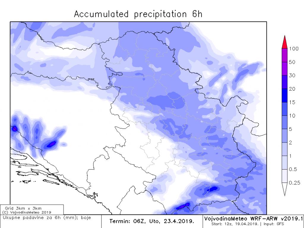 Prve naznake količine kiše u noći ka utorku (ARW)