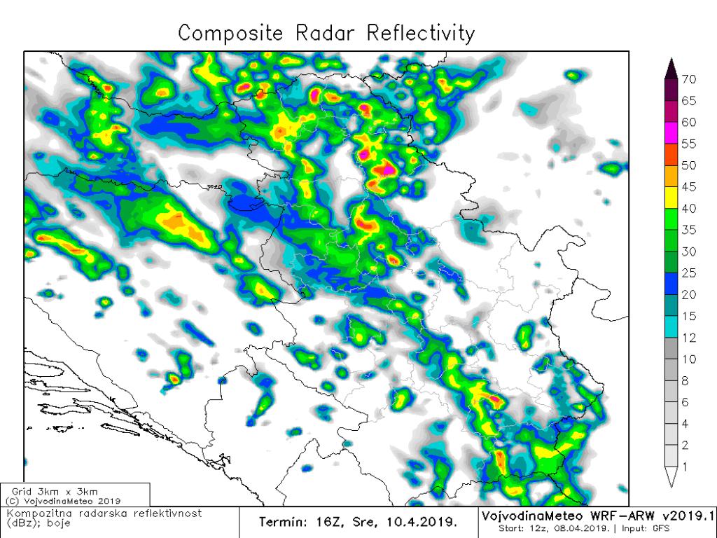 Radarska reflektivnost u sredu kasno popodne (ARW)