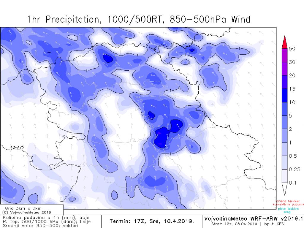 U sredu lokalno moguće obilnije padavine (ARW)