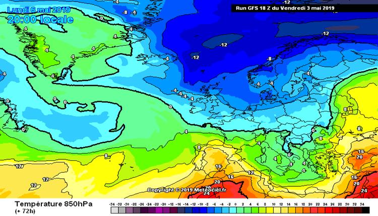 Arktički vazduh iznad Evrope u ponedeljak (GFS)