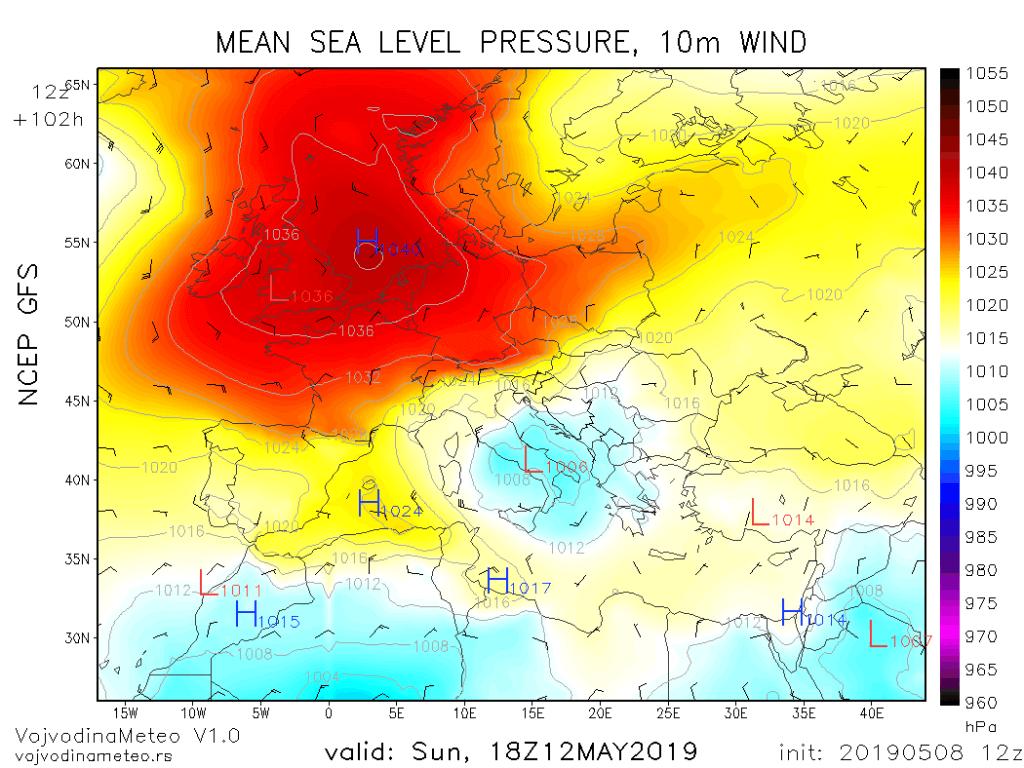 Ciklon na jugu Jadrana u nedelju (GFS)