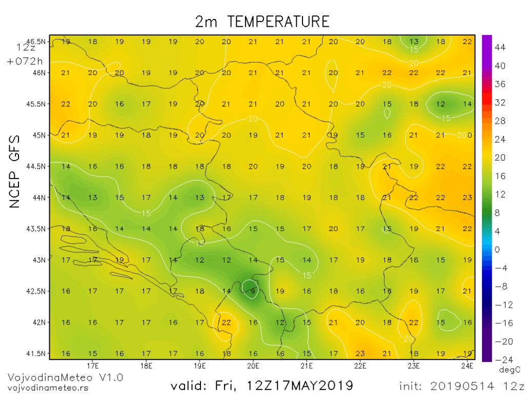 Dnevne temperature u petak 17. maja (GFS)