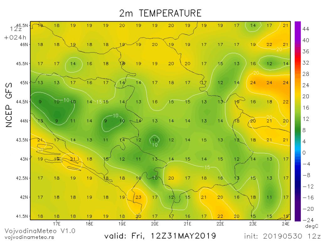 Dnevne temperature u petak (GFS)