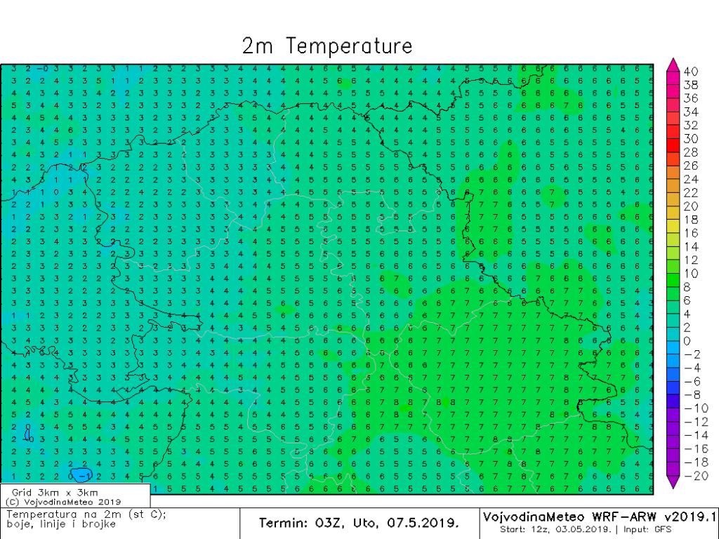 Niske jutarnje temperature u utorak (ARW)