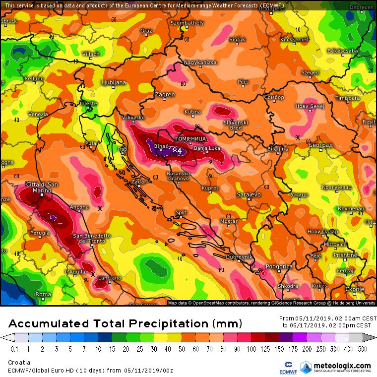 Ukupna količina padavina do petka sredinom dana (ECMWF)