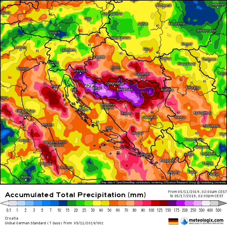 Ukupna količina padavina do petka sredinom dana (ICON)
