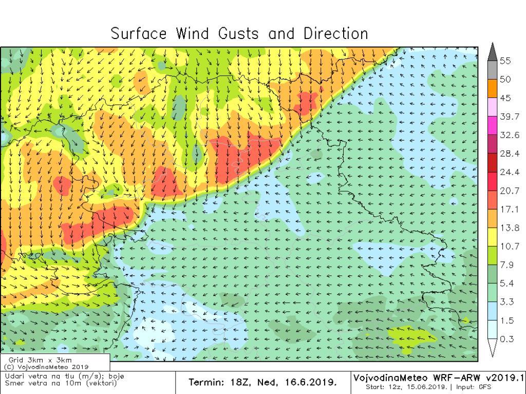 Biće jakog i ponegde olujnog vetra (ARW)
