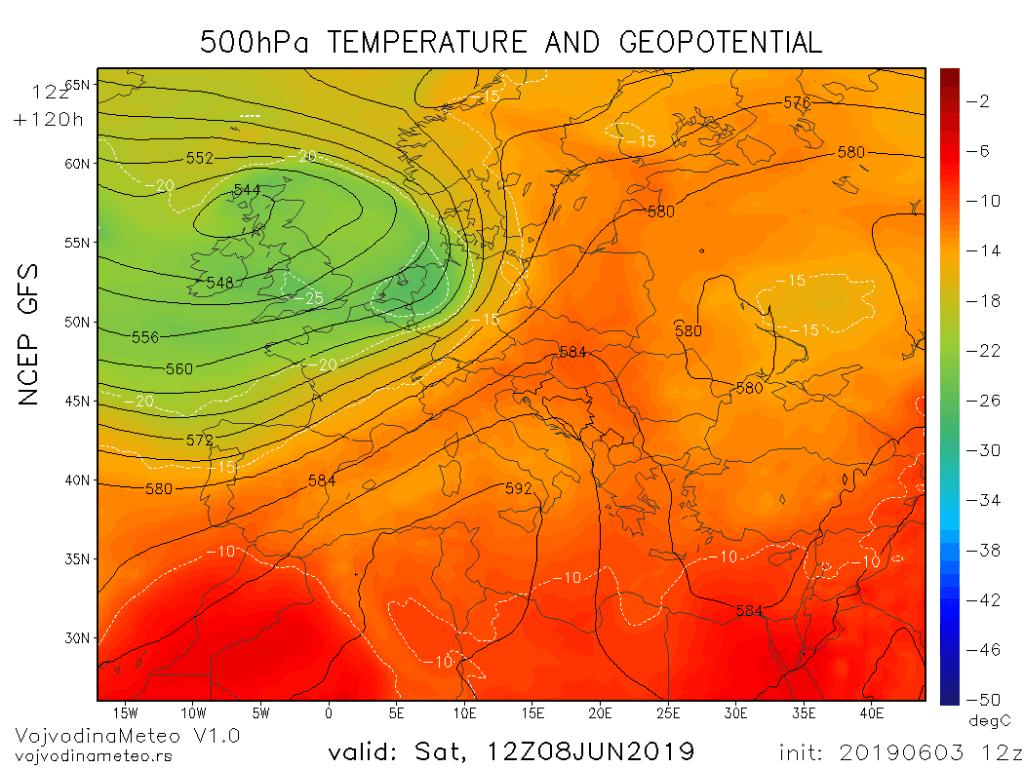 Geopotencijal u subotu (GFS)