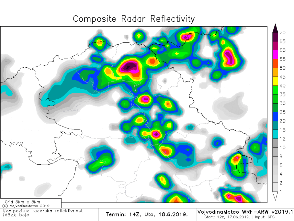 Kompozitna radarska reflektivnost u utorak popodne (ARW)