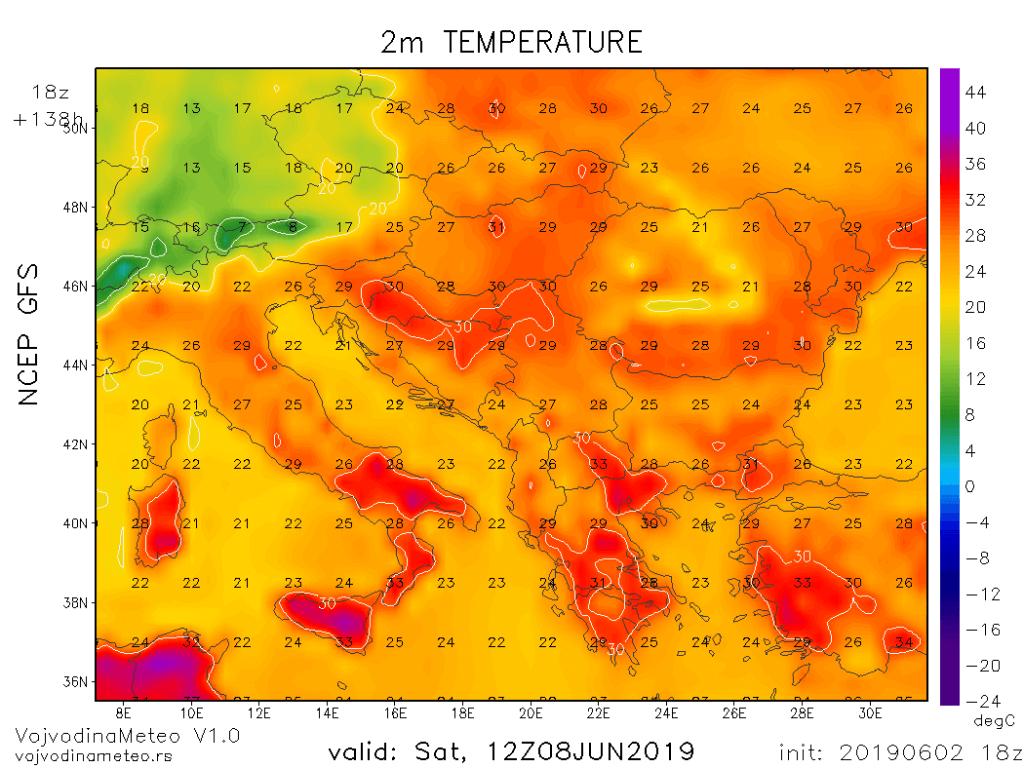 Maksimalne temperature u regionu u subotu (GFS)