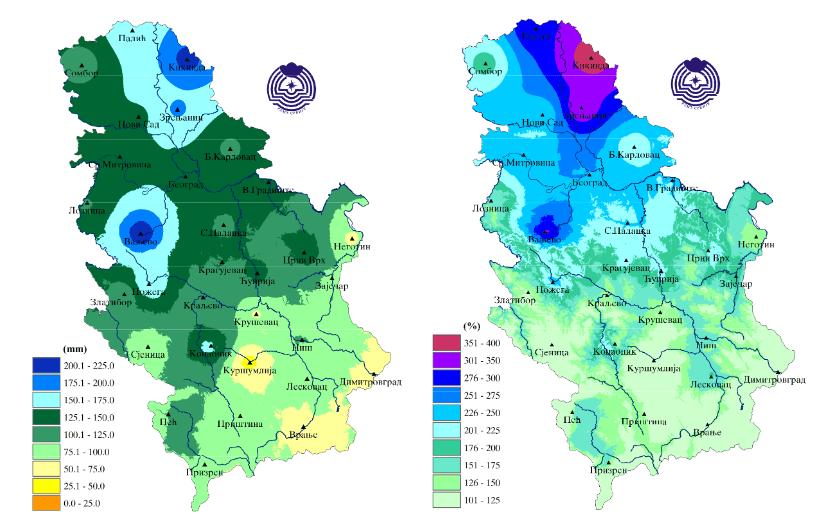 Mesečna suma padavina u maju i odstupanje u procentima od normale period 1981 2010 - maj 2019 (Izvor: RHMZ Srbije)
