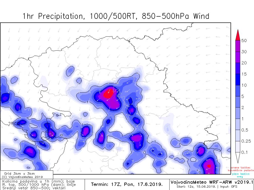 Moguće obilne padavine za kratko vreme u ponedeljak (ARW)