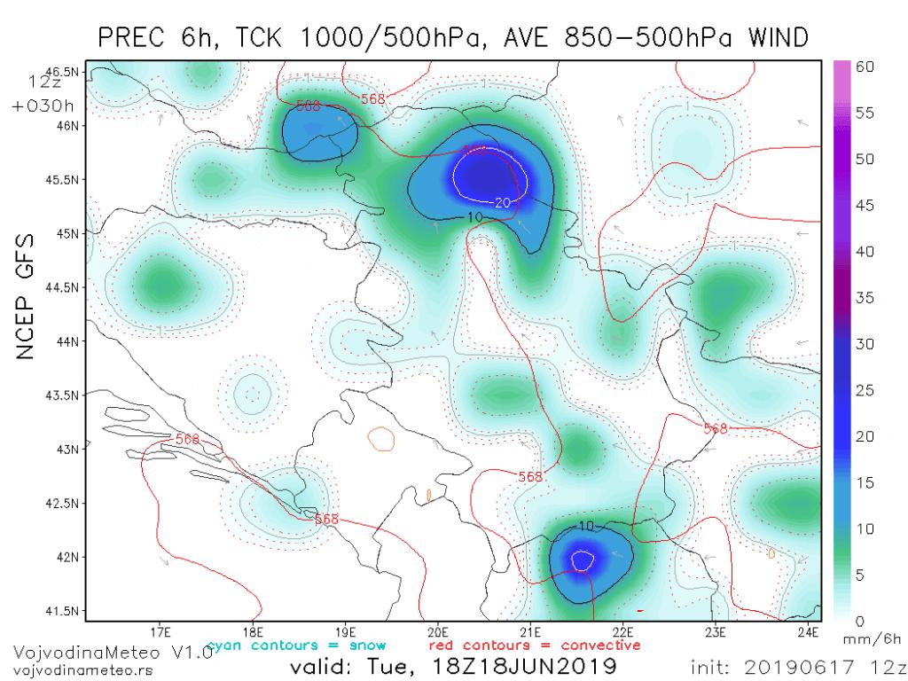Moguće su obilnije padavine tokom utorka (GFS)