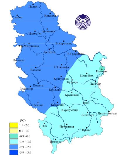 Odstupanje srednje mesečne temperature - maj 2019 (Izvor: RHMZ Srbije)