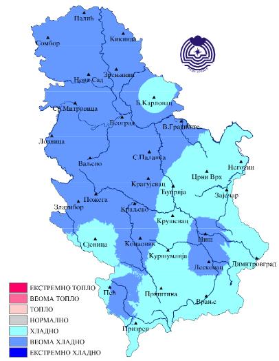 Prostorna raspodela srednje mesečne temperature metodom percentila - maj 2019 (Izvor: RHMZ Srbije)
