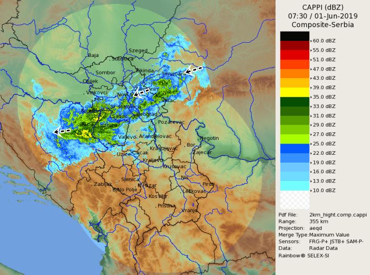 Radarska slika u 9:30h (Izvor: RHMZ Srbije)