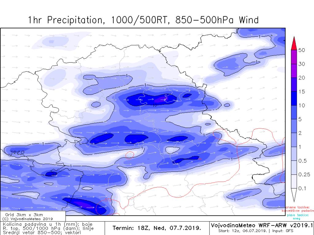 Lokalno obilnije padavine u nedelju na samom kraju dana - stižu sa zapada (ARW)