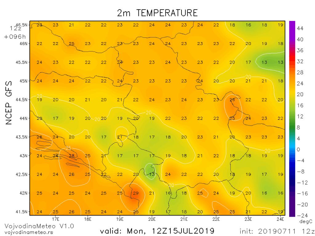 Maksimalne temperature u ponedeljak (GFS)