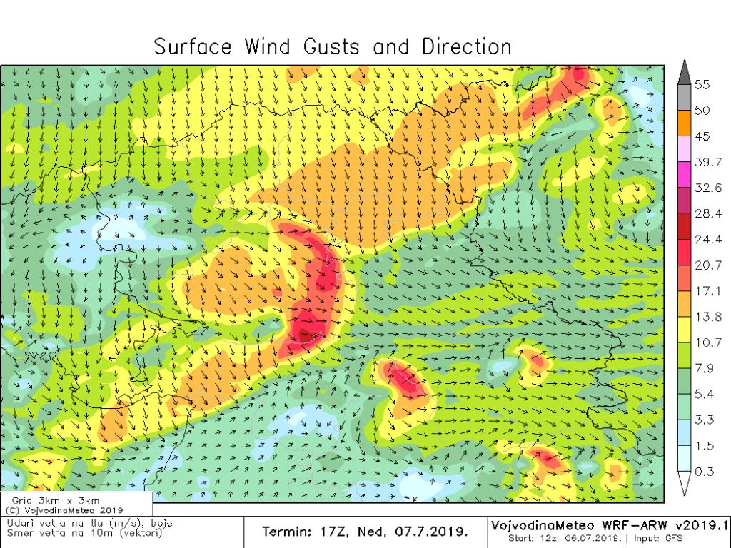 Ponegde jak i olujan vetar očekuje se u nedelju (ARW)