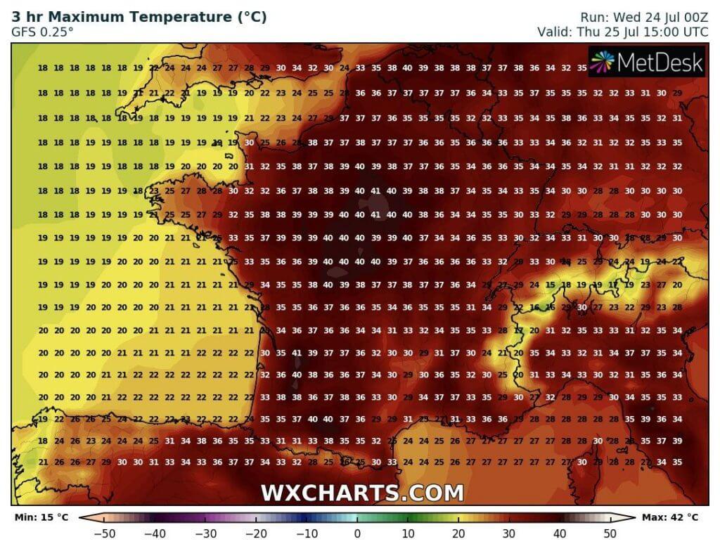 Projektovane maksimalne temperature Francuskoj (GFS)