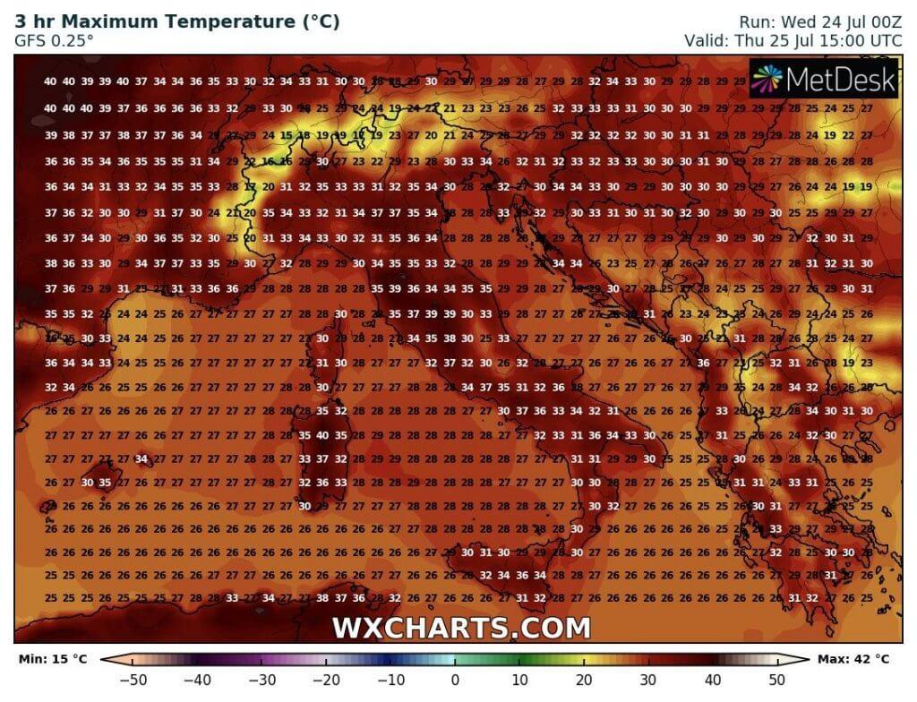 Projektovane maksimalne temperature u Italiji (GFS)