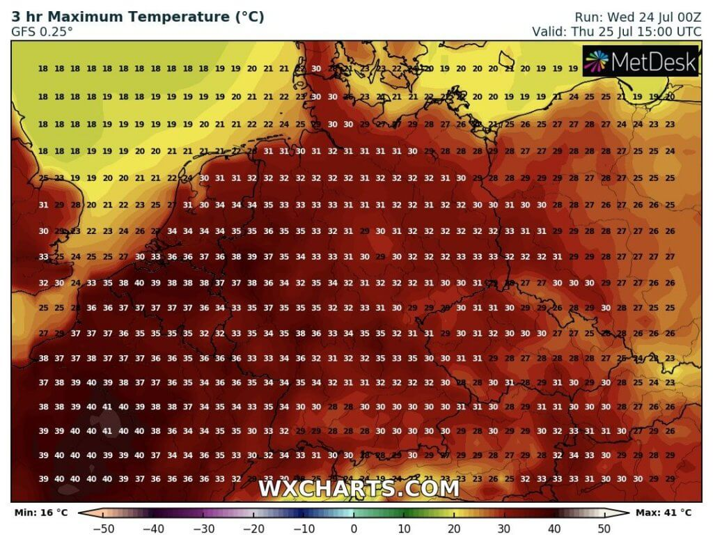 Projektovane maksimalne temperature u delu srednje Evrope (GFS)