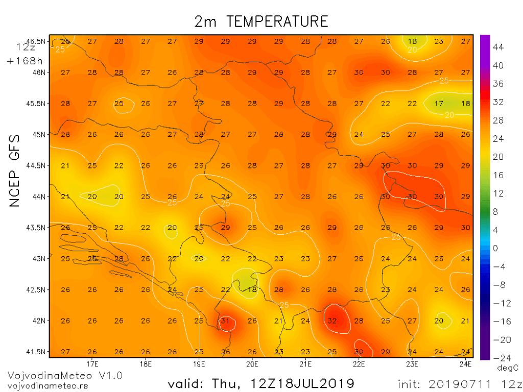U drugom delu naredne sedmice letnje temperature (GFS)