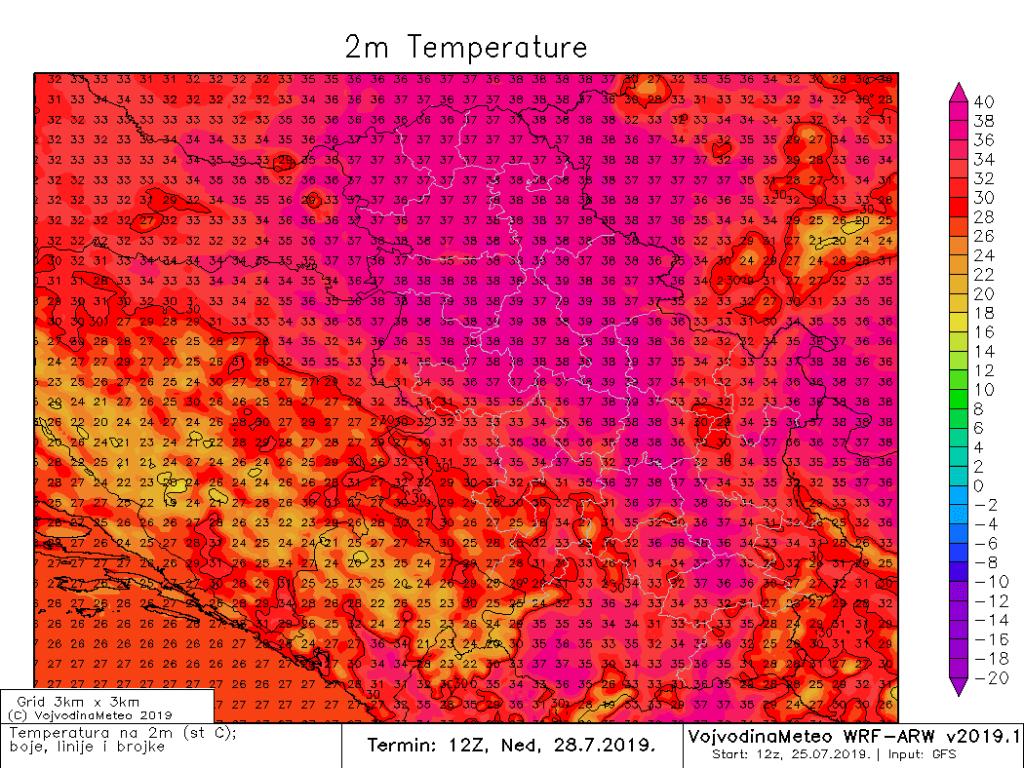 U nedelju pojedini modeli daju ido 39°C (ARW)