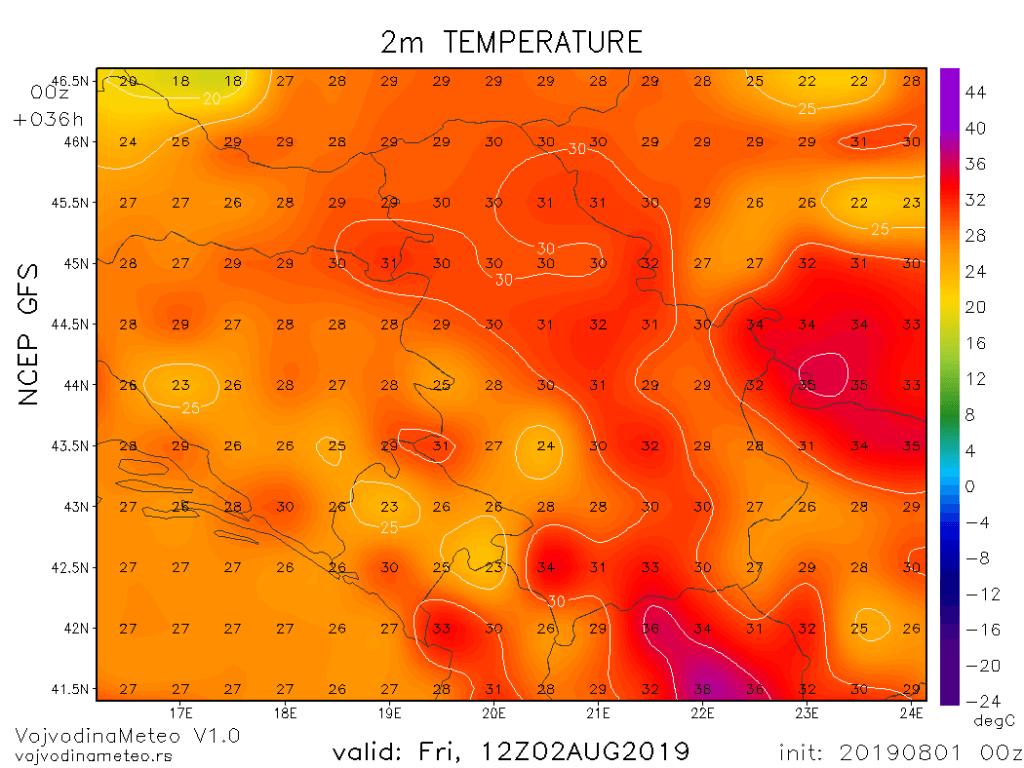 Maksimalne temperature u petak (GFS)
