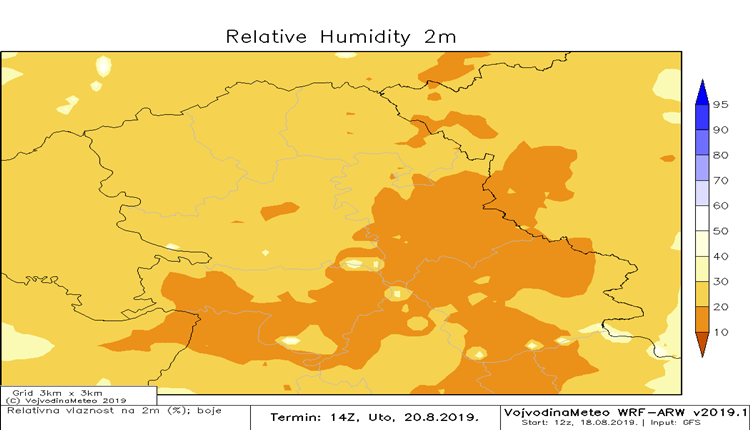 Niza relativna vlaznost vazduha u narednim danima (ARW)