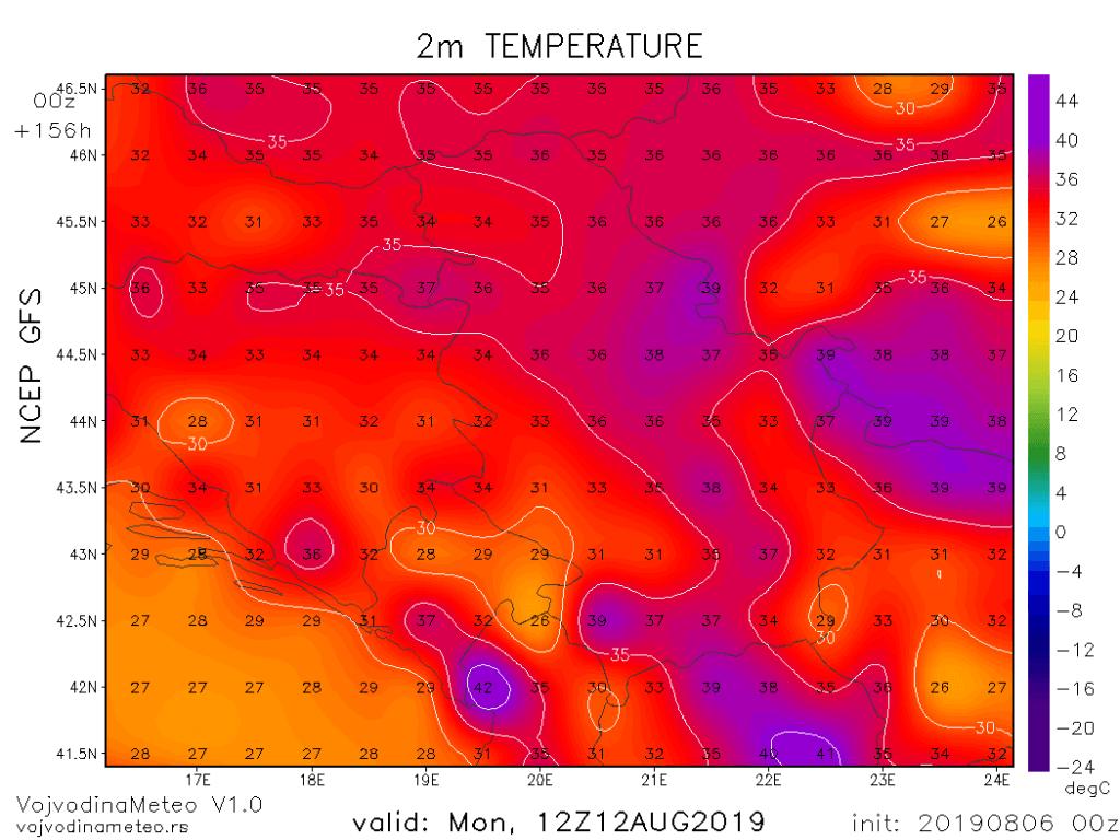 Očekivane maksimalne temperature u ponedeljak (GFS)