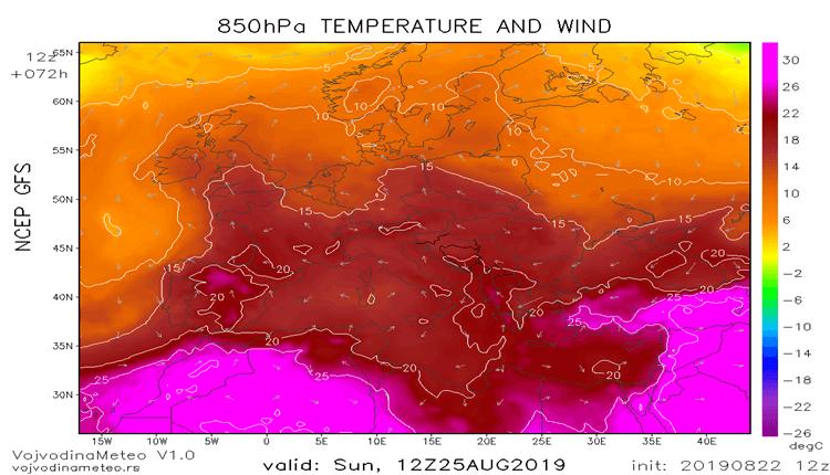 Temperatura na 1500m u nedelju iznad Evrope (GFS)
