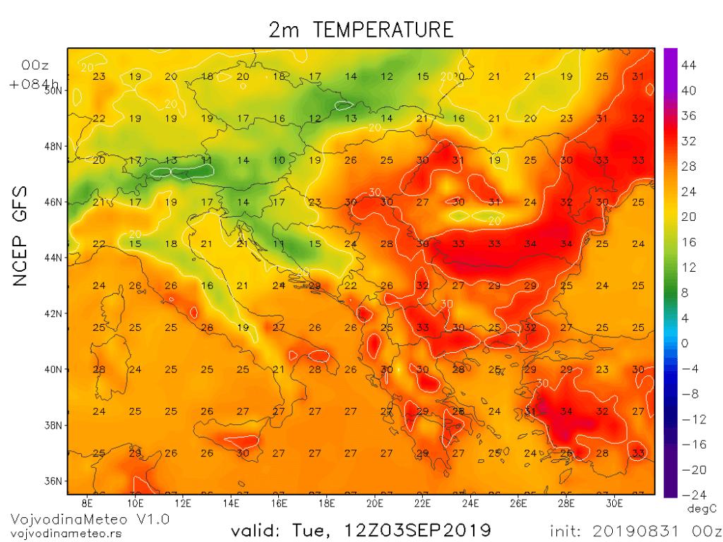 Temperature u regionu u utorak sredinom dana (GFS)