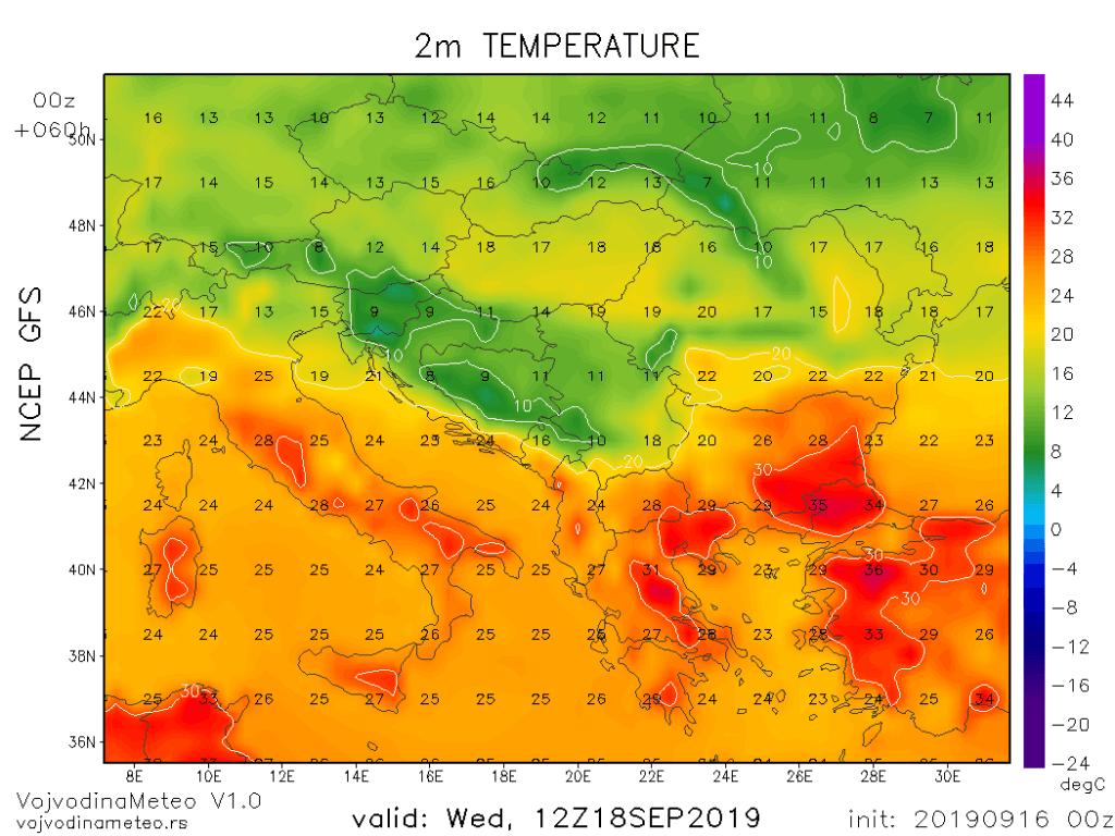 Dnevne temperature u sredu (GFS)