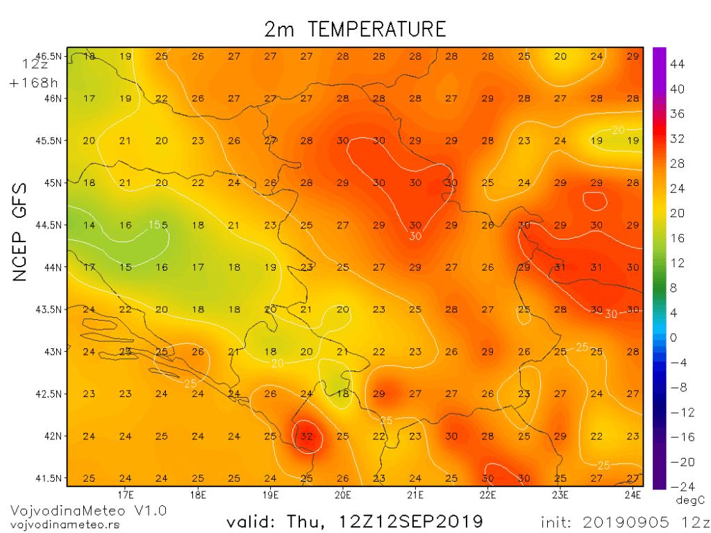Maksimalne temperature sledećeg četvrtka (GFS) - promene su naravno vrlo moguć