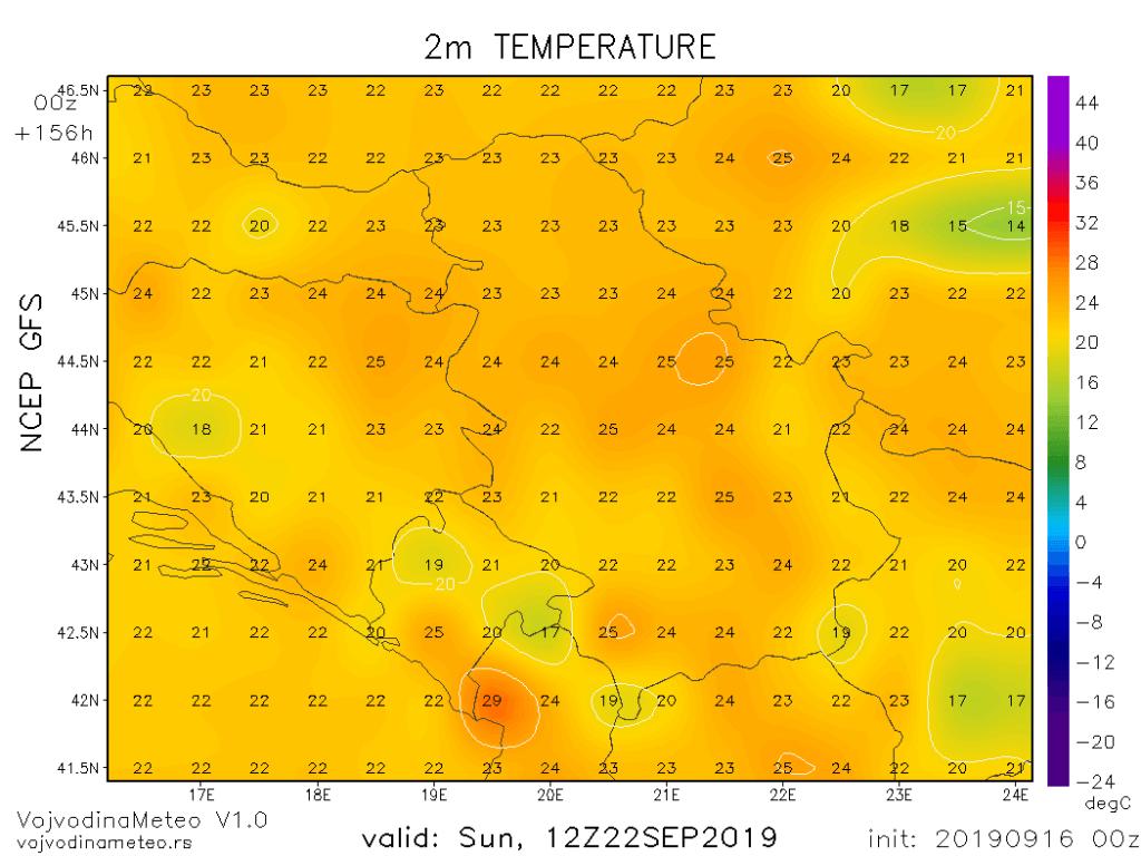 U nedelju uveliko preko 20°C (GFS)