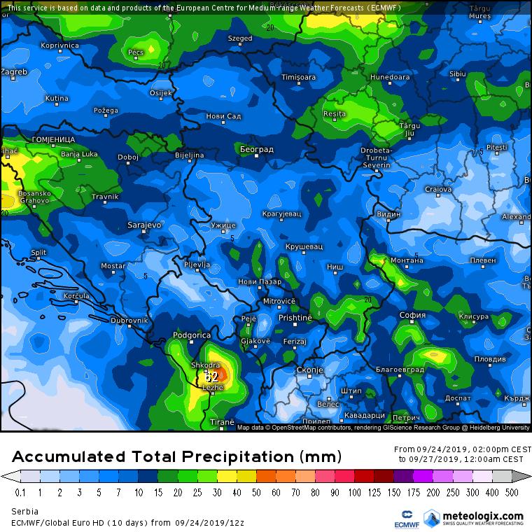 Ukupne padavine do petka prema ECMWF modelu