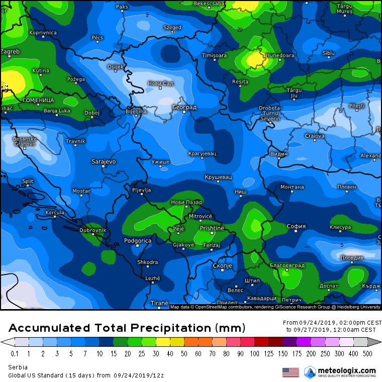 Ukupne padavine do petka prema GFS modelu