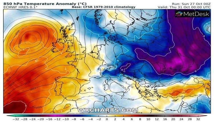 Anomalija temperature u cetvrtak 850hPa (ECMWF)