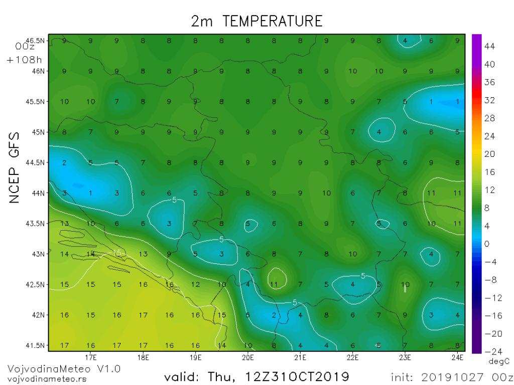 Dnevne temperature u četvrtak (GFS)