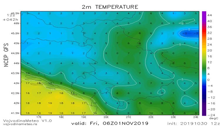 Hladna jutra u cetvrtak i petak (GFS)