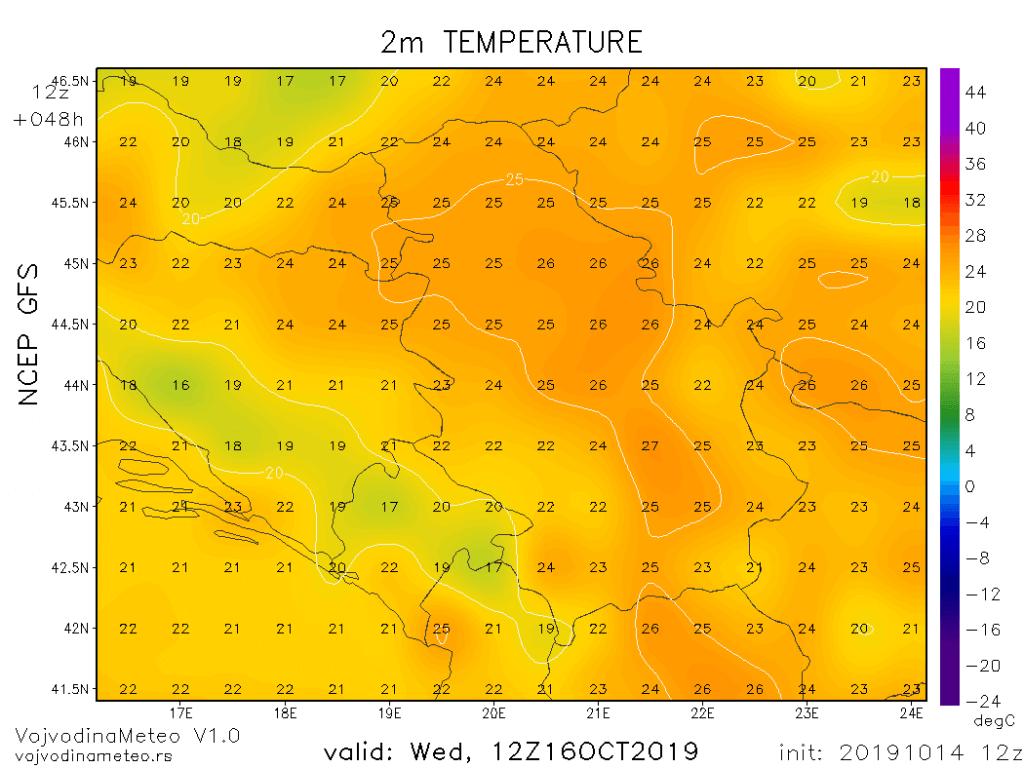 Maksimalne temperature u sredu prema GFS modelu