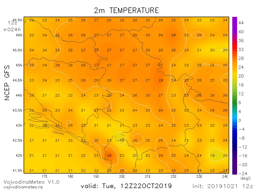 Maksimalne temperature u utorak (GFS)