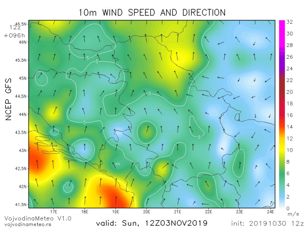 Pojačan vetar južnih smerova za vikend (GFS)