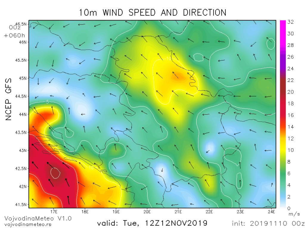 Jak i olujni vetar u utorak (GFS)