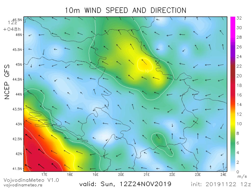 Jak jugoistočni vetar u nedelju (GFS)