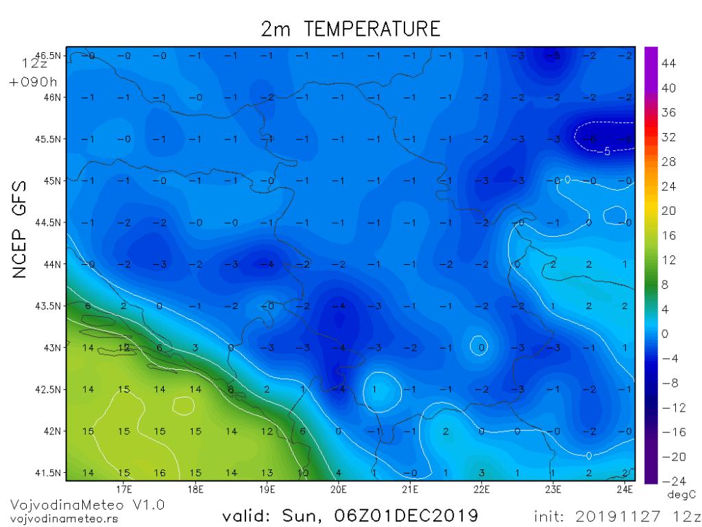 Jutarnji mraz u nedelju (GFS)