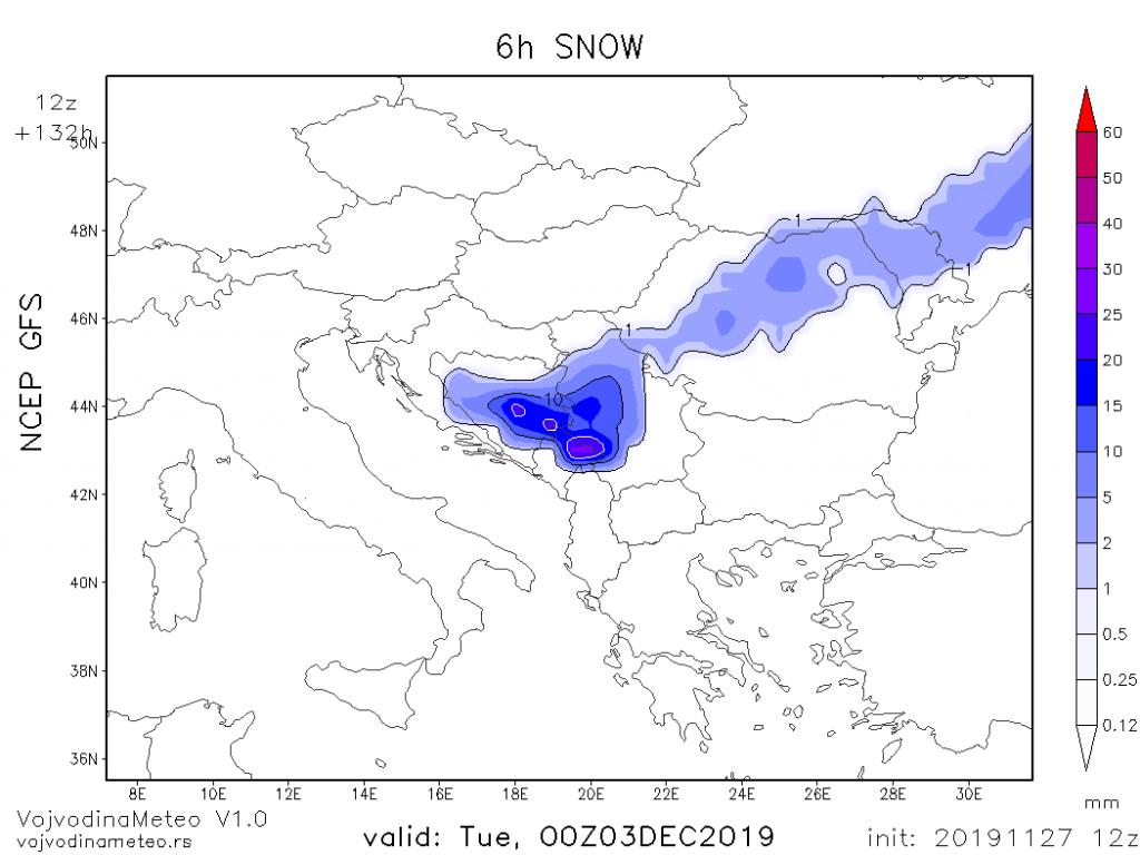 Mala mogućnost za pojavu snega u ponedeljak pred kraj padavina (GFS)