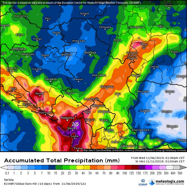 Ukupne padavine do kraja nedelje (ECMWF)